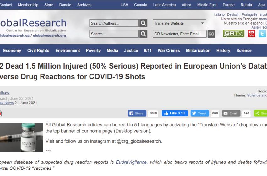União Europeia registra milhares de mortes após aplicação da vacina contra a COVID-19?