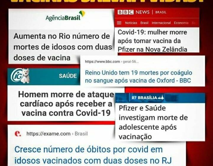 Página de apoio a Bolsonaro questiona eficácia das vacinas contra a covid-19