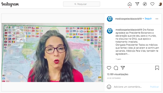 Médica faz afirmações falsas sobre discurso de Bolsonaro nas Nações Unidas