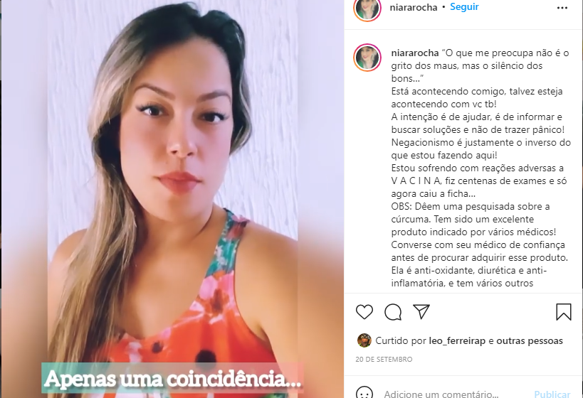 Postagem feita no Instagram levanta suspeitas sobre vacinas. Nenhuma delas tem fundamento